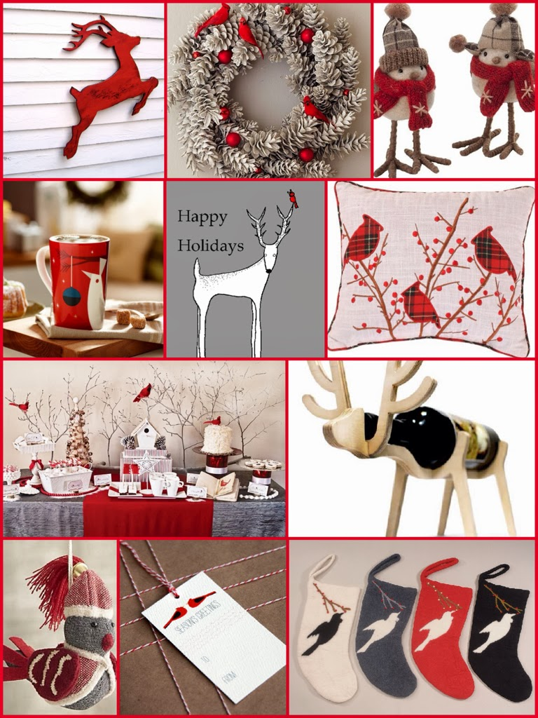 red bird holiday theme inspiration board