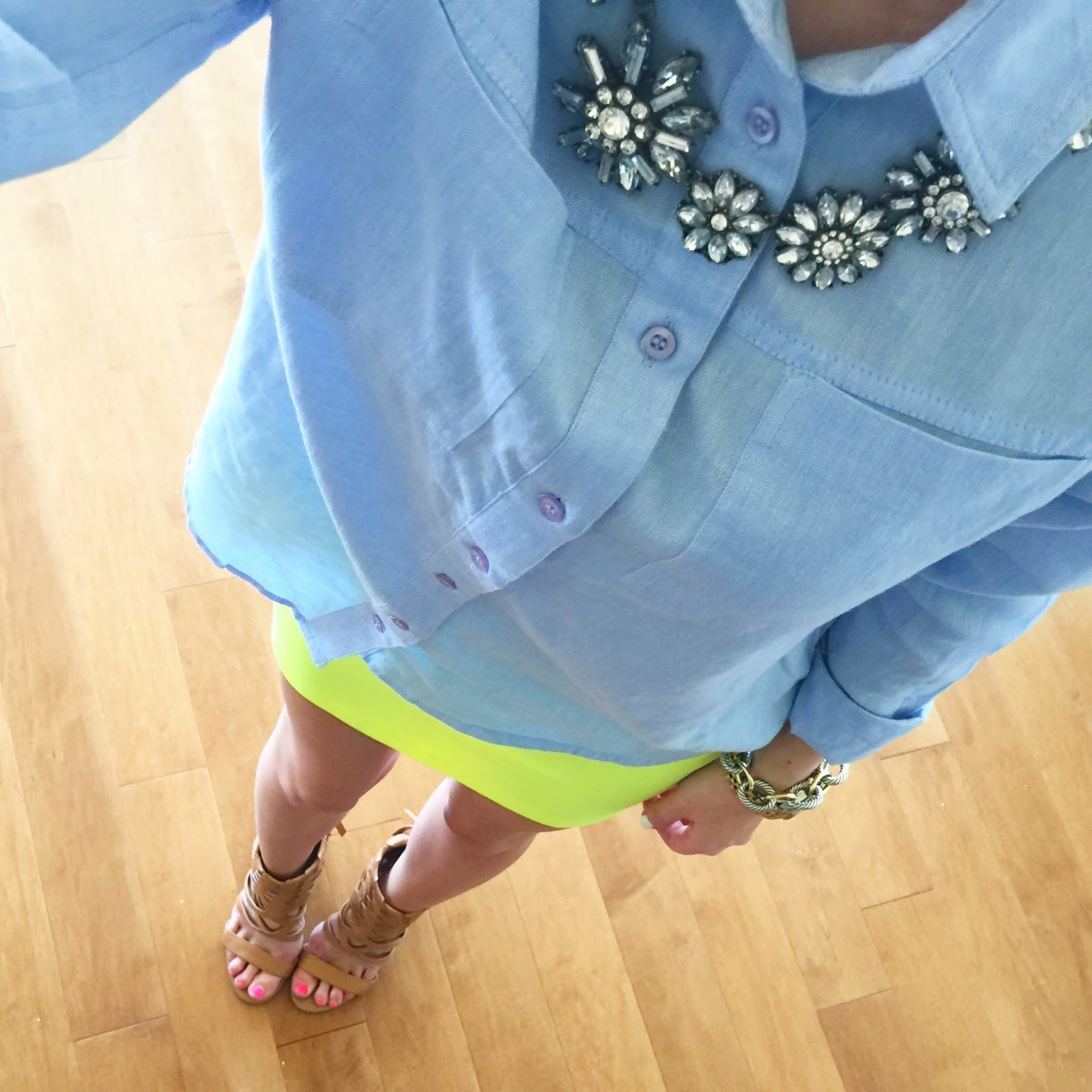 Pair a chambray top with a pop of neon