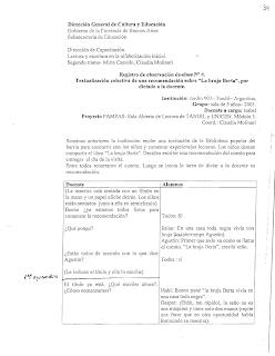 Textualización colectiva de una recomendación sobre la bruja Berta