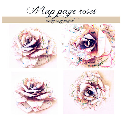 paper flowers created with maps roses