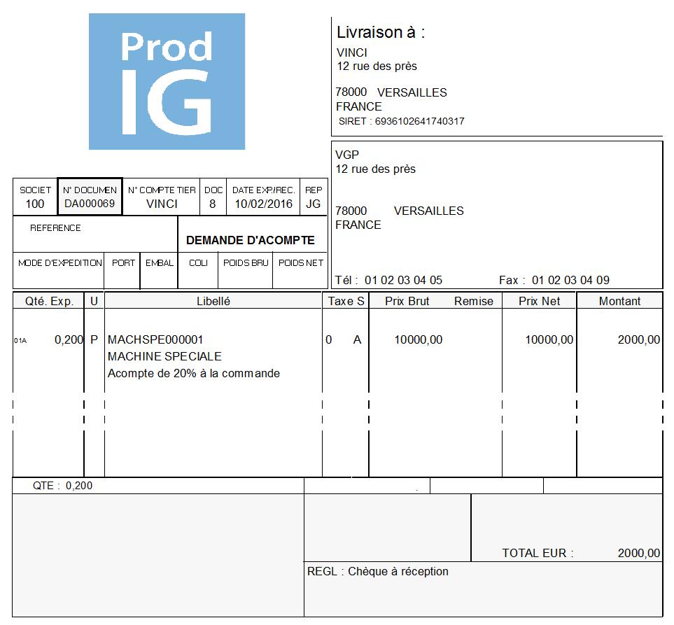 Manufacturing PMI Gestion des acomptes - Demande d'acompte/Pro forma | Prod-IG : Prod-IG ...