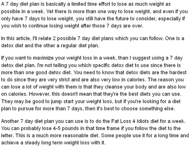 7 Dayt Plan How Much Can You Lose In A Week