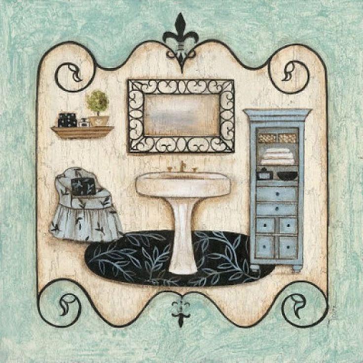 Laminas Baño Vintage:Tags: láminas para découpage baño, láminas découpage gratis