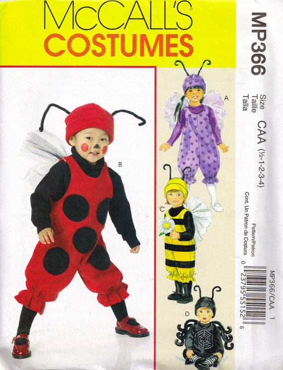 Ladybug Bumblebee Spider Fairy Costume Sewing Pattern Children Size 1/2 1 2 3 4 from PeoplePackages  sc 1 st  baby bees house & baby bees house: Halloween bee costumes to make