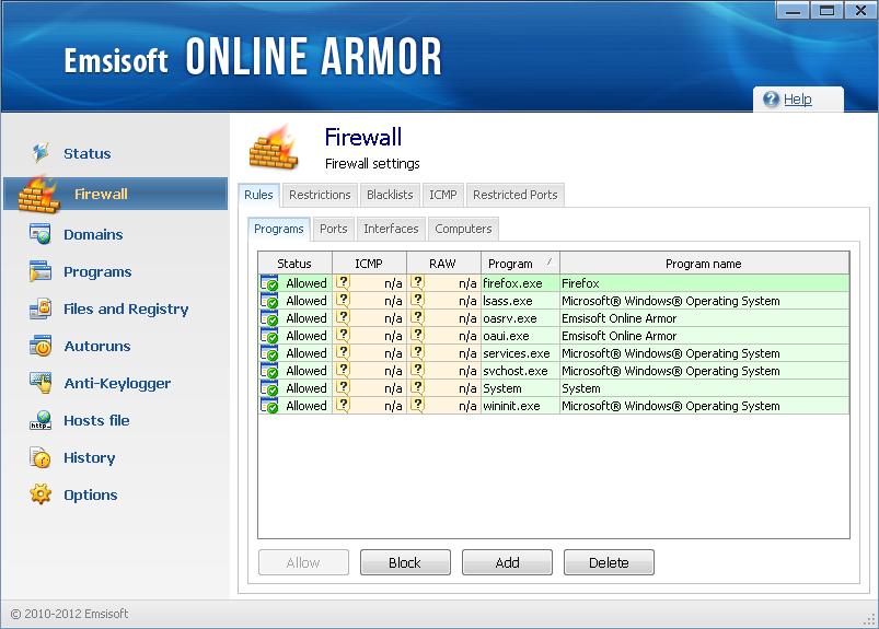 Online Armor Free 7.0 - Firewall