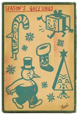Happy Holidays by Jonathan LeVine Gallery - Artwork by Gary Taxali