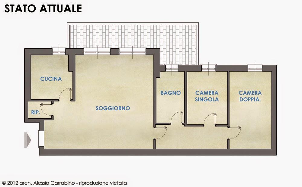 Alessio carrabino architetto revisione della planimetria for Case a pianta aperta