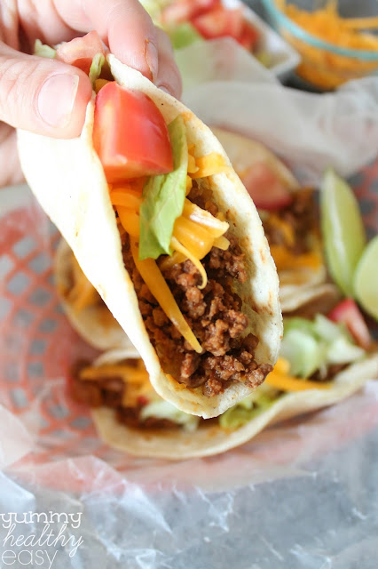 These homemade tacos are the best beef tacos EVER! They're super easy to throw together for a quick taco night dinner any night of the week!
