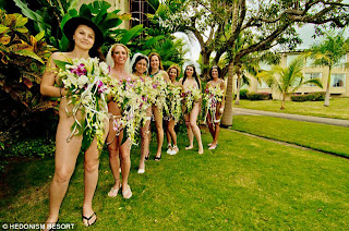 the hendoism ii resort invited 9 couples for the all expense paid group naked wedding ceremony which was filmed for