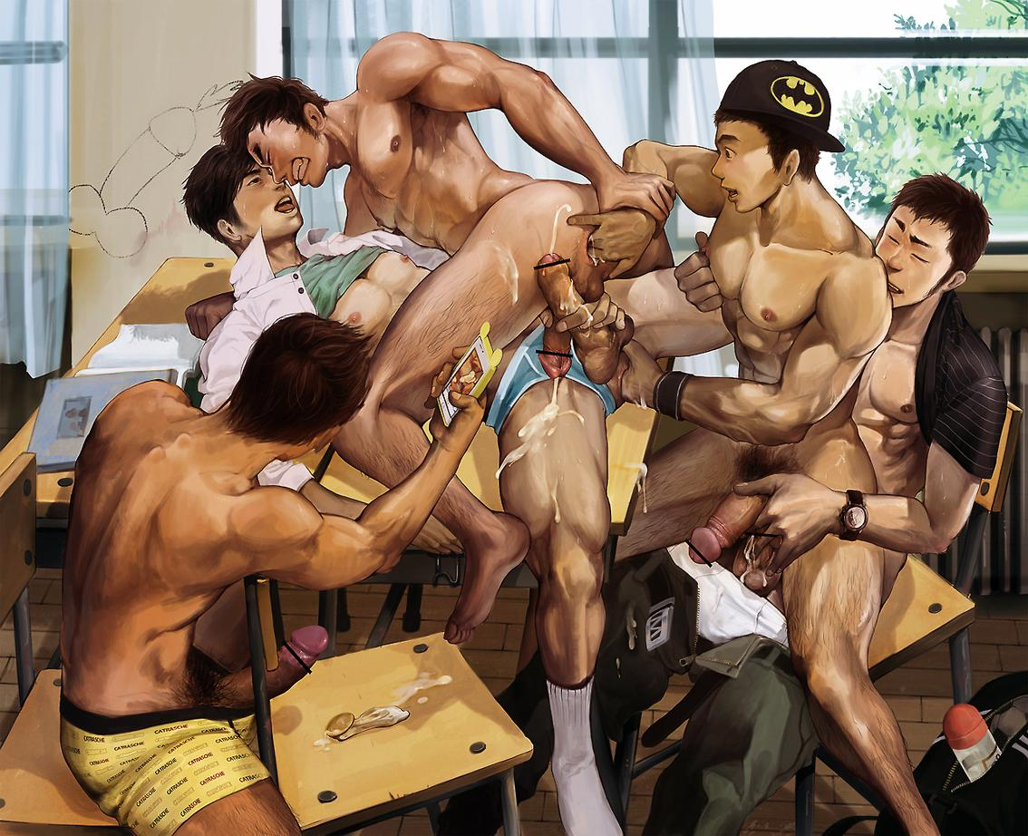 Comic Gay: Japanese Students in Gay Orgy.