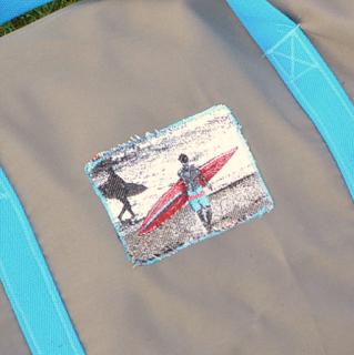 sac de surf étanche polochon gris bleu fermeture éclair
