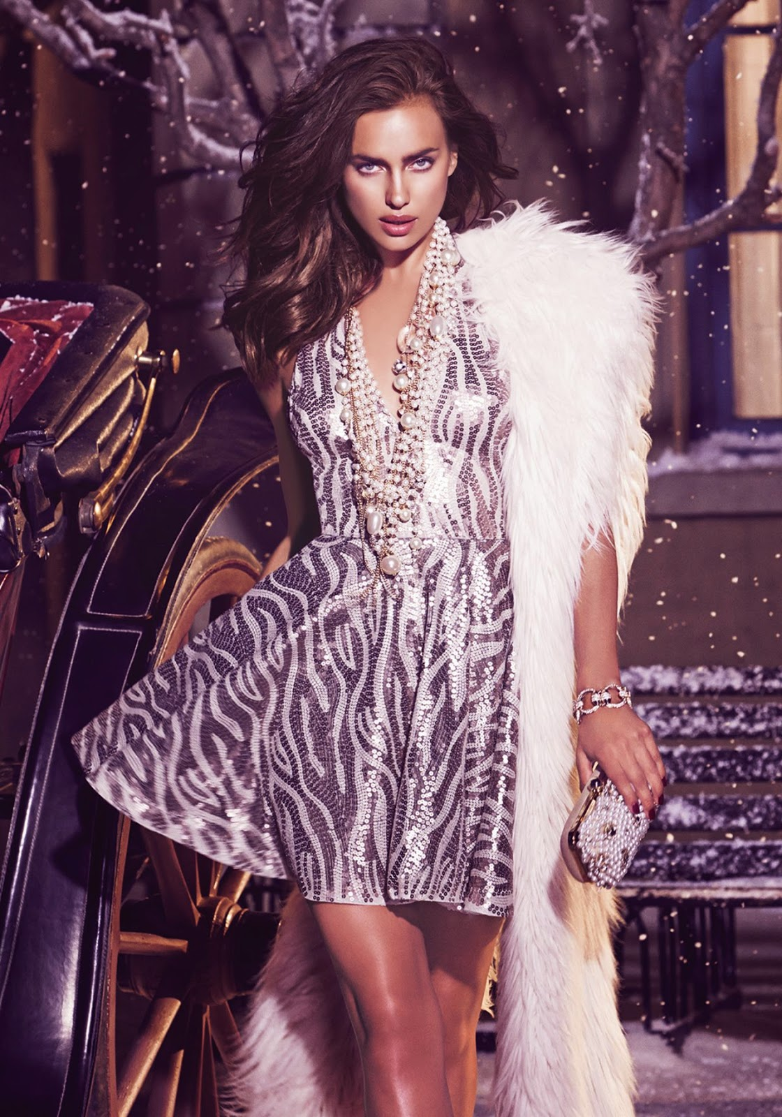 Bebe 'Winter in Wonderland' Holiday 2014 Lookbook featuring Irina Shayk