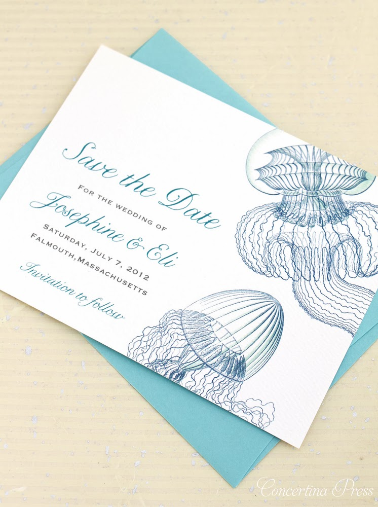 Vintage Modern Jellyfish Save the Date from Concertina Press