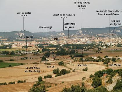 Panoràmica de la zona de ponent de la Plana de Vic, des de la Serra de Sant Marc