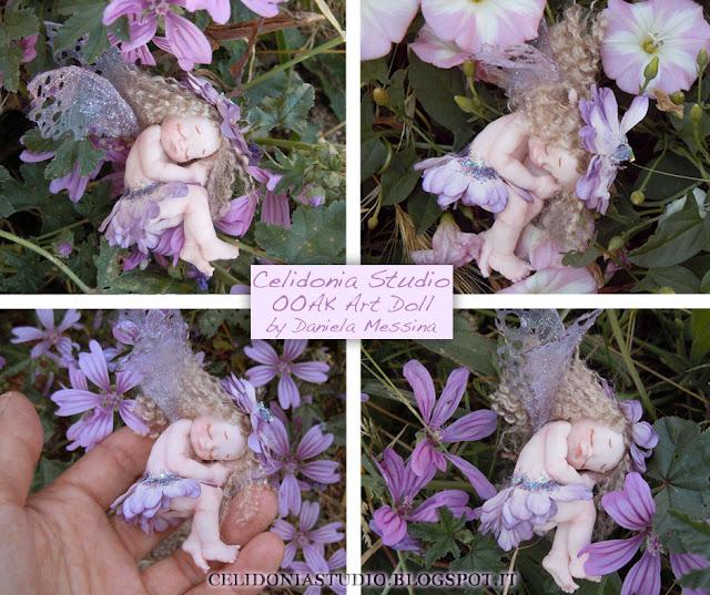 Violet Sleeping Fairy - Fatina Addormentata in Pasta Sintetica - Celidonia