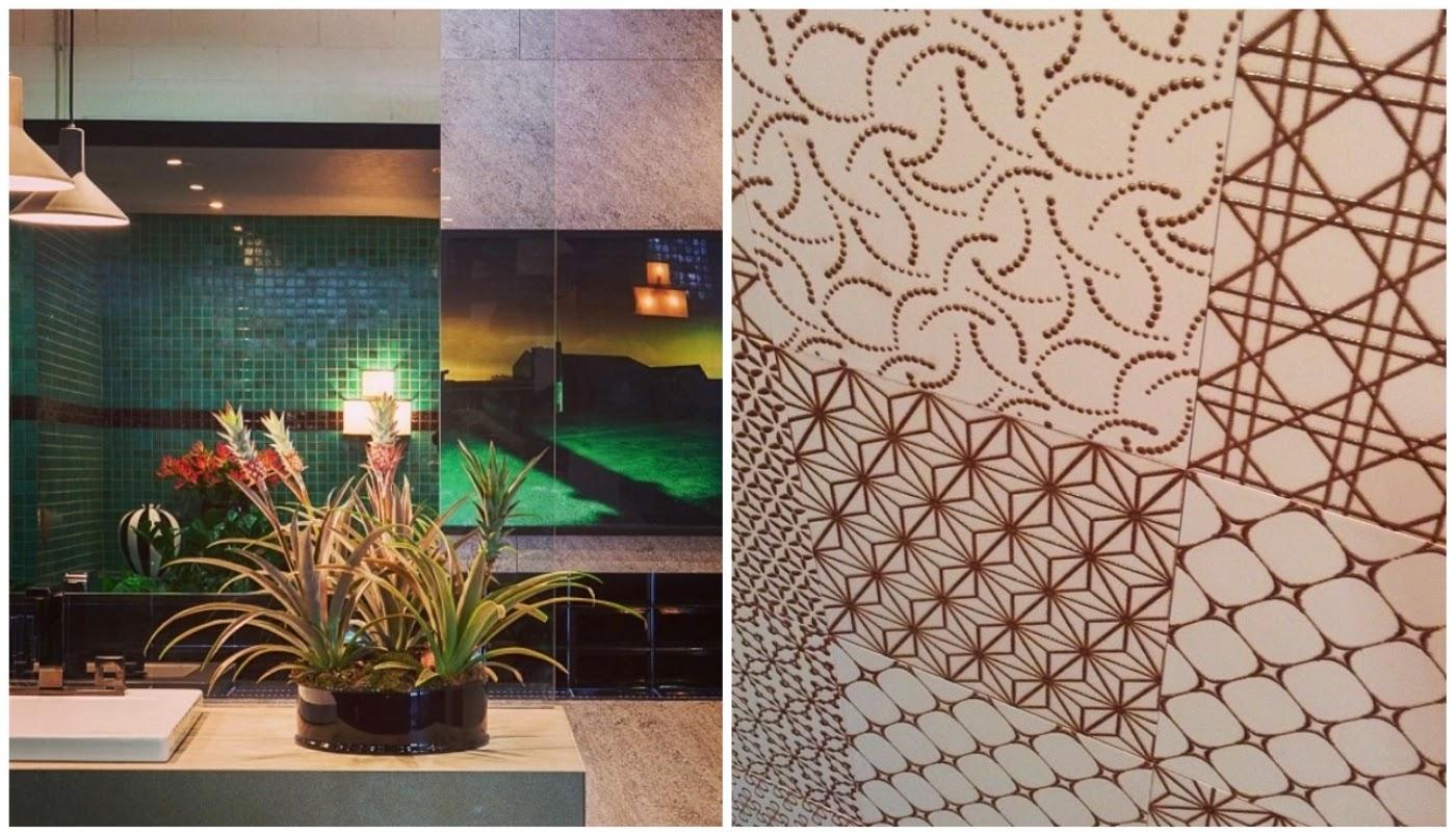 """parede com pastilhas verdes @casavoguebrasil e linha """"Patchwork Gold"""" inspirada na moda @decortiles"""