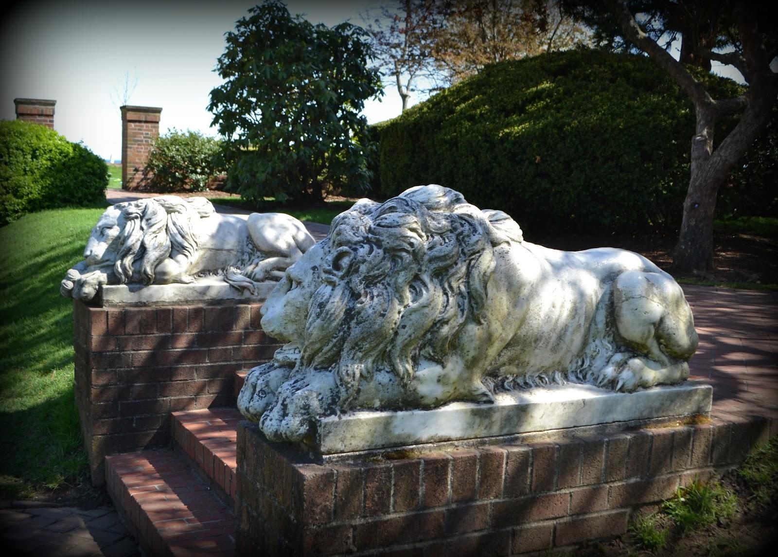 marble, lions, sculpture, outdoor, garden, lynch park, beverly, massachusetts