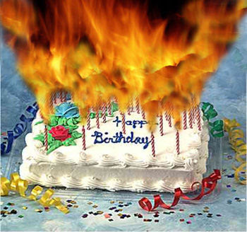 Twitter Google Facebook Birthday cake candles 