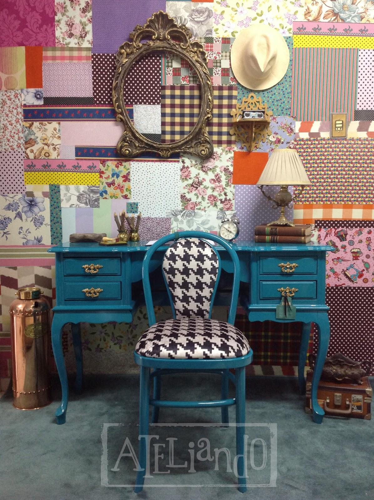 Customização de móveis antigos: Escrivaninha com cadeira Forest #1E4B60 1195x1600