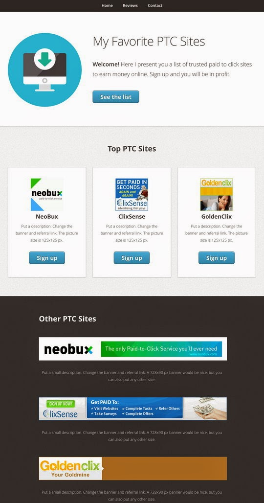Free Web Templates For Promoting Paid To Click Referral Links