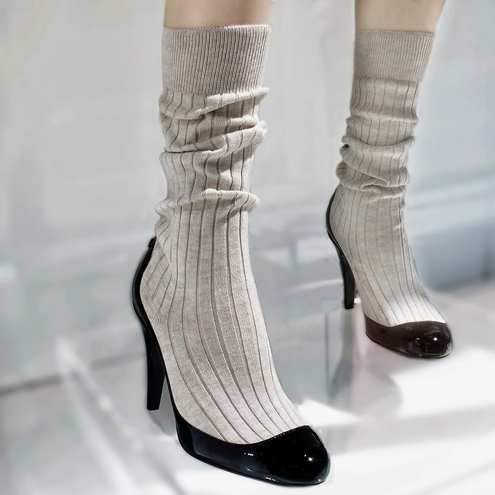 Chanel Patent Calfskin and Cotton Sock High Boots heels.
