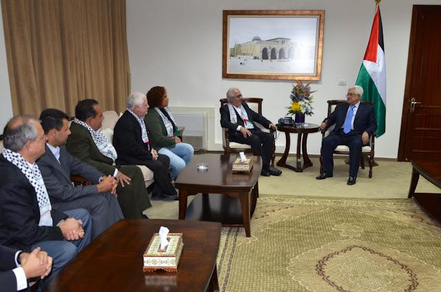 Presidente Abbas recebe missão brasileira de solidariedade
