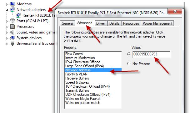 how to change mac address in windows 7