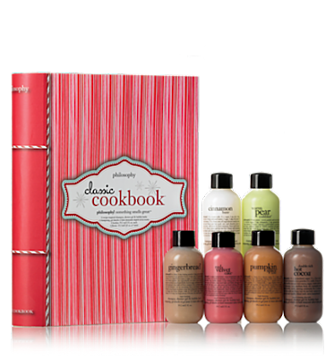 Philosophy, Philosophy The Holiday Cookbook, shower gel, body wash, Philosophy Red Velvet Cake, Philosophy Cinnamon Buns, Philosophy Spicy Pear Cobbler, Philosophy Pumpkin Spice Muffin, Philosophy Gingerbread, Philosophy Double Rich Hot Cocoa, gift set, holiday gifts