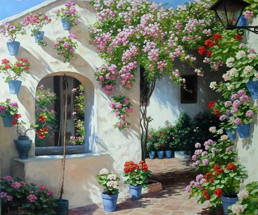 Cuadros modernos pinturas y dibujos paisajes de patios for Patios andaluces decoracion