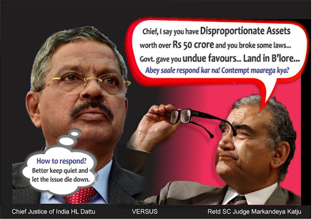 In the face of continuous provocation by Markandeya Katju, why is Chief Justice Dattu silent and passive? if there is no substance in the retired SC judge's allegations, why isn't any action being taken against him? Why no Contempt of Court so far?  Through his blog, http://justicekatju.blogspot.in/, Katju has been continually baiting Dattu, the establishment and also mainstream journalists to investigate the issue based on his documents.