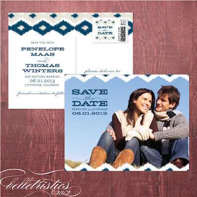 contemporary modern ikat printable diy photo save the date post card