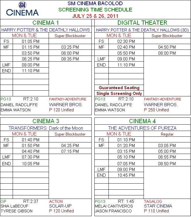 Sm cinema bacolod now showing schedule