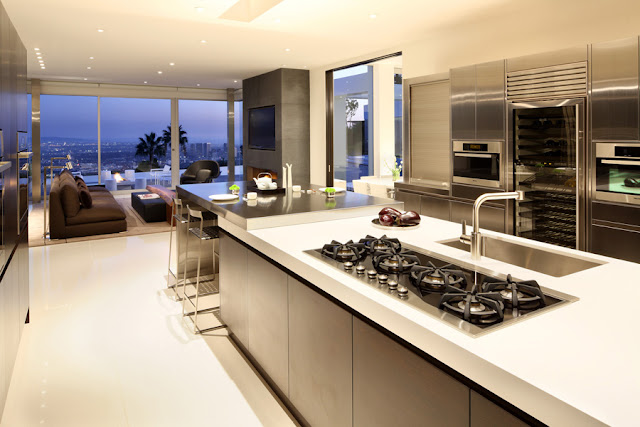 Modern kitchen with city views