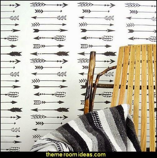Indian Arrows Allover Wall Pattern Stencil - DIY Wall Decor - DIY Wallpaper Alternative