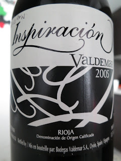 Label of 2005 Bodegas Valdemar Inspiración Valdemar from Rioja, Spain