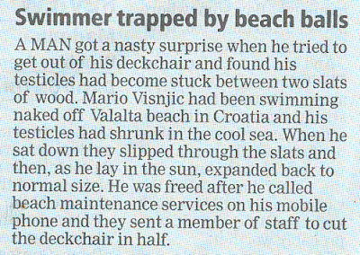 Man gets testicles trapped in deckchair