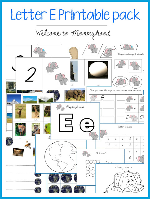 Tot Labs presents: Letter of the Week - letter e featuring tons of free printables! #totlabs, #preschoolactivities, #letteroftheweek, #montessoriactivities, #montessori