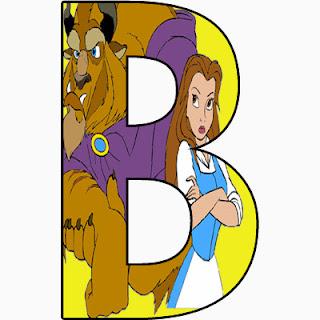 Alfabeto de personajes Disney con letras grandes B a Bella y la Bestia.