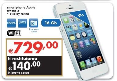 Bonus spesa di 140 euro sull'Apple iPhone 5 nell'ultimo volantino Panorama di luglio