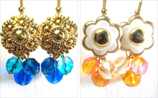 Earrings have gold flower buttons with blue or yellow Fire Polished Czech Beads