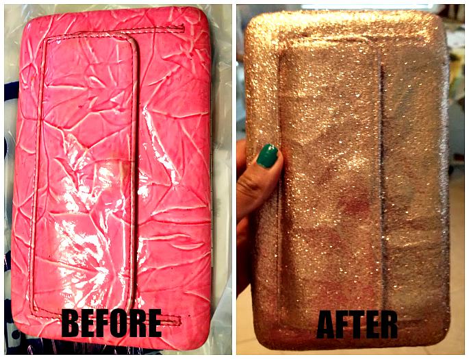 DIY glitter clutch