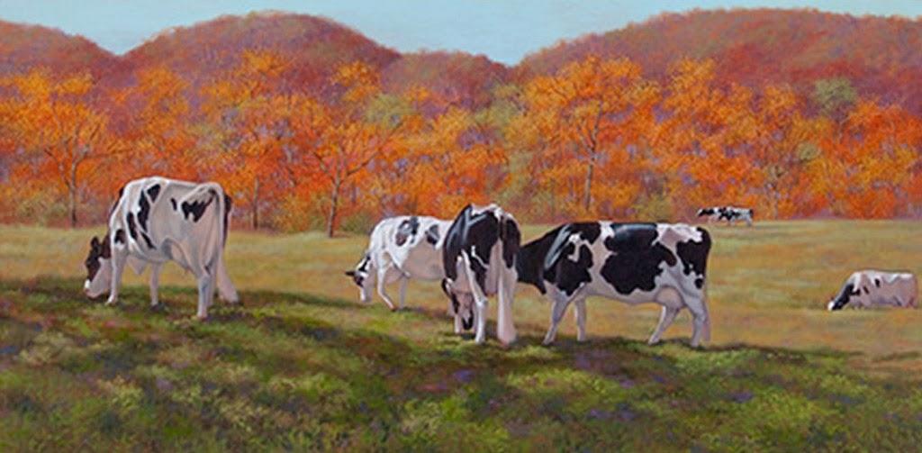Im genes arte pinturas paisaje con vacas pinturas realistas - Cuadros de vacas ...