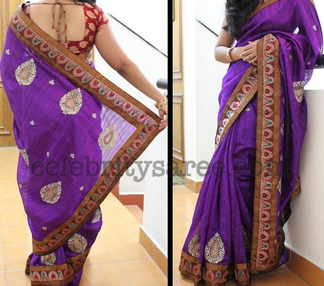 Purple Sico Jari Border Saree