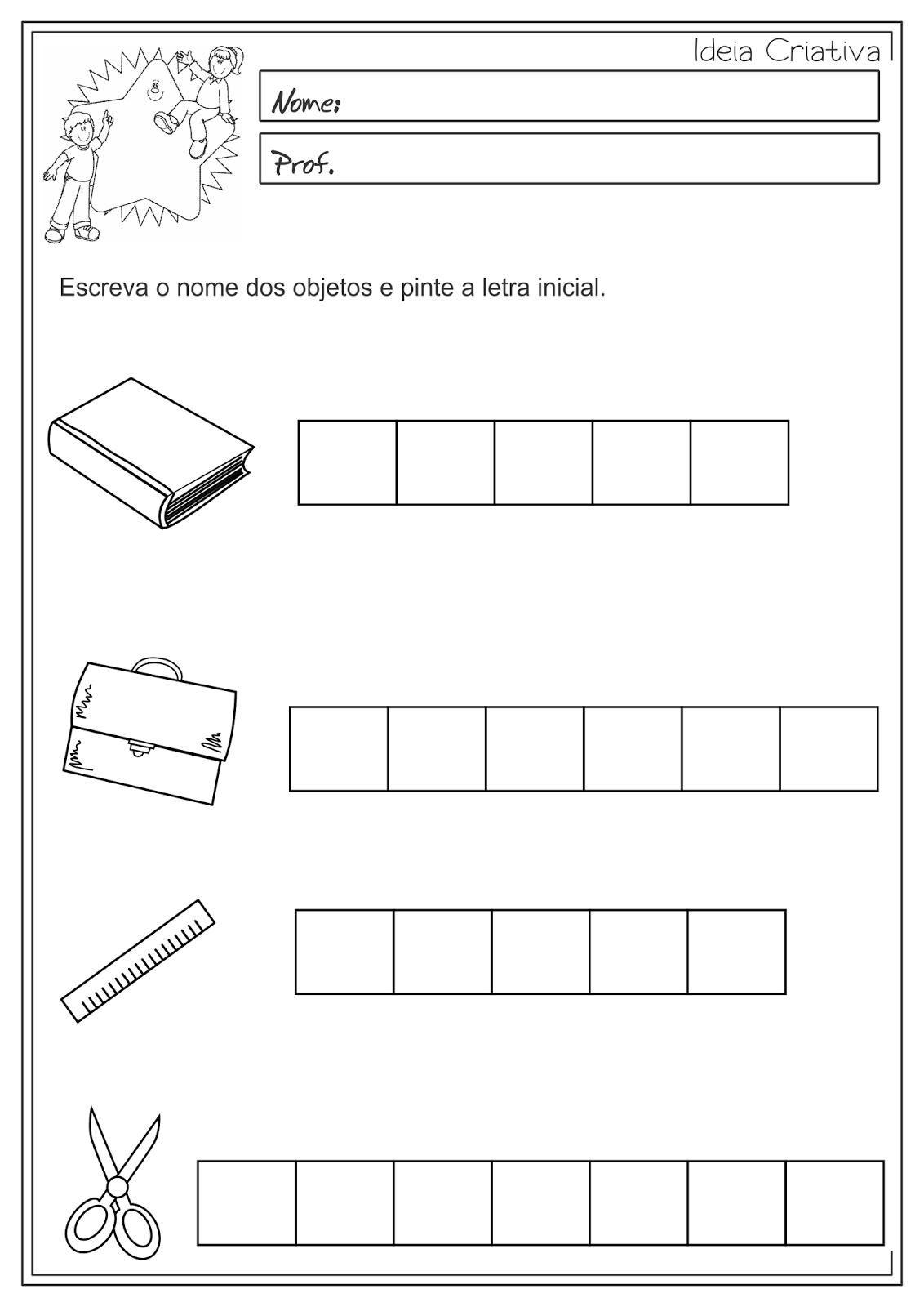 Atividades Educativas Letra Inicial das Palavras Língua Portuguesa 3° ano Fundamental