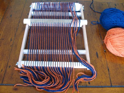 Warp threads through the heddle
