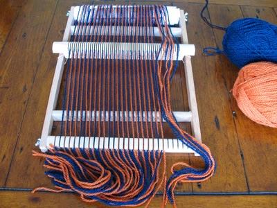 Warp threads through the heddle