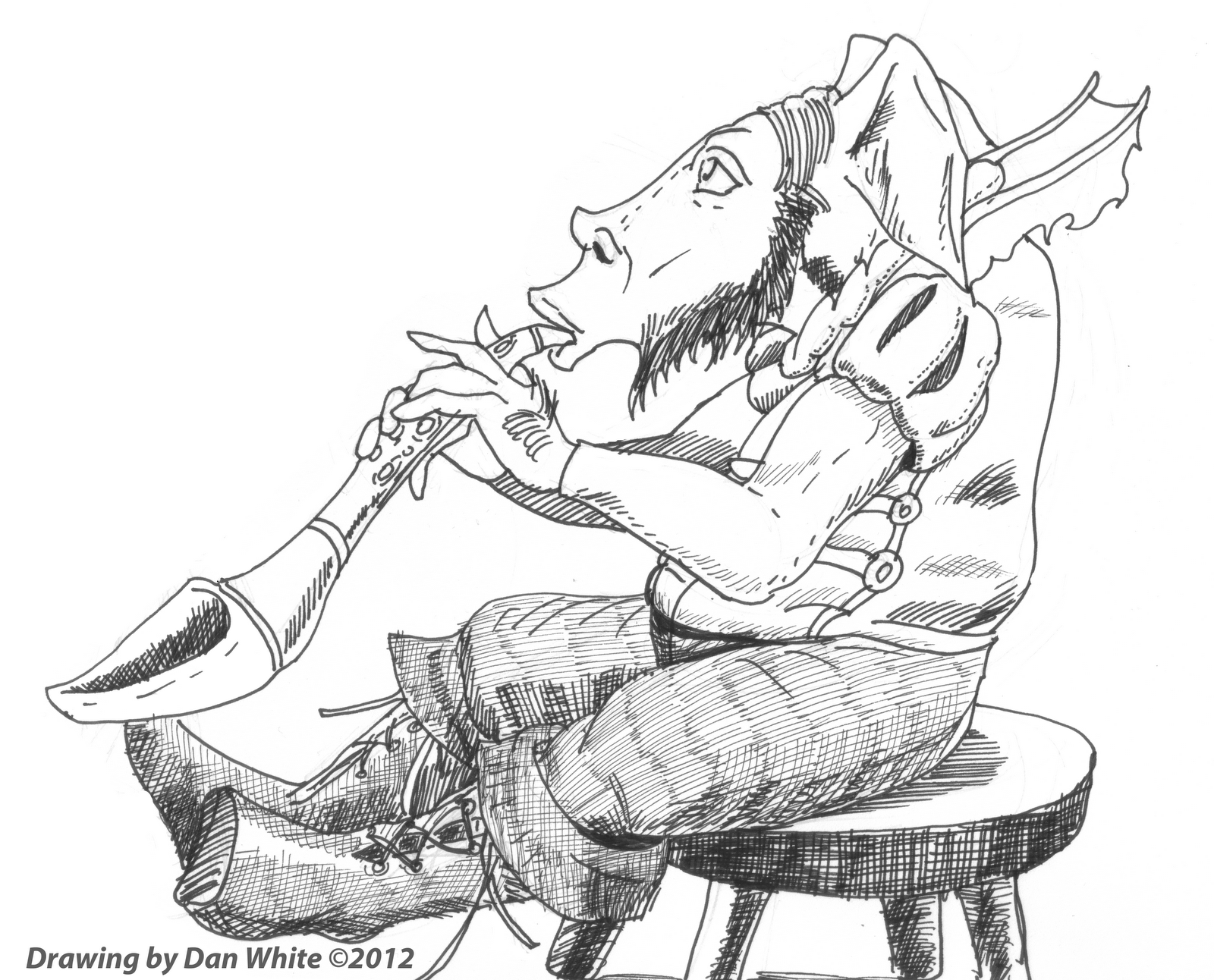 Oboe Coloring Pages On his goblin-made oboe Oboe Coloring Pages