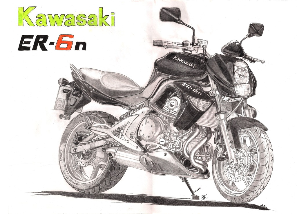 dessins sur la toile par lepiaf du 86 dessin kawasaki er 6 n 2011 pas la moto le dessin. Black Bedroom Furniture Sets. Home Design Ideas