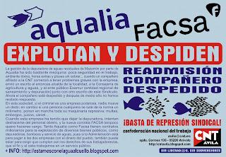 CNT-AIT contra despidos en Facsa Aqualia