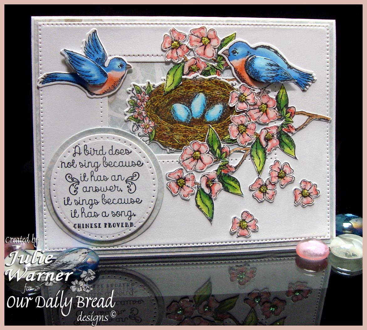 Stamps - Our Daily Bread Designs Spread Your Wings, Dogwood Mini, ODBD Custom Dies: Birds and Nest, Flourished Star Pattern, ODBD Shabby Rose Paper Collection